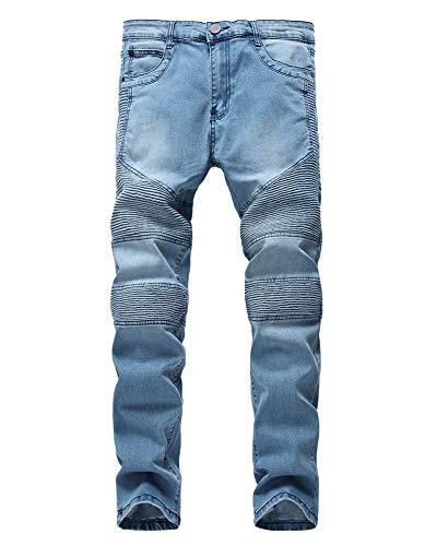 Vaqueros Hombre Biker Vaqueros Denim Slim Fit Motero Moderno Ajustados Elásticos,Jeans Plisados G Estilo