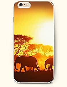OFFIT iPhone 6 Plus Case 5.5 Inches Elephants Migrating at sunset