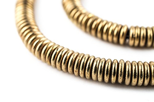 Brass Heishi Beads - Full Strand of Fair Trade Beading Supplies - The Bead Chest (6mm, Brass) - Antiqued Brass Metal Beads