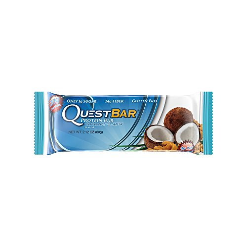 Quest Nutrition Protein Bar, Coconut Cashew, 20g Protein, 4g Net Carbs, 190 Cals, High Protein Bars, Low Carb Bars, Gluten Free, Soy Free, 2.1 oz Bar, 12 Count