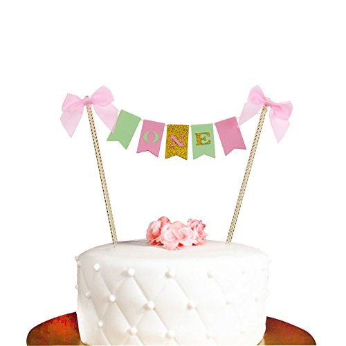 1ST Birthday Cake Topper First Bunting For Baby Girl Party Decoration Supplies