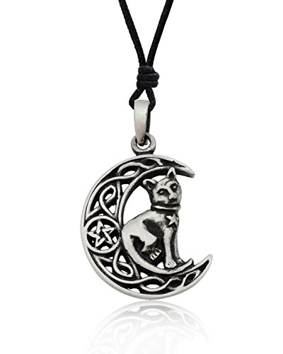 Celtic Moon and Cat Silver Pewter Charm Necklace Pendant Jewelry