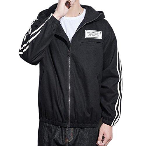 Generic Jacket Casual Hoodie Coat Mens Size Loose Black Plus Stripe Cargo rq1HzBr