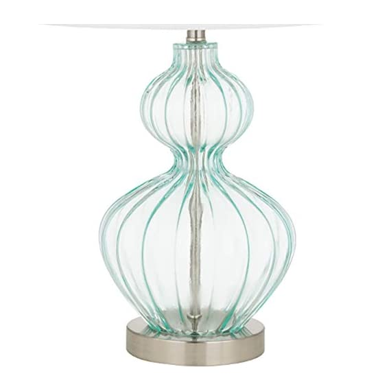 Amazon Brand – Ravenna Home Modern Table Lamp With LED Light Bulb -23.75 Inches, Brushed Nickel with Blue Glass - Beautiful blue glass and modern curves complement many décor styles Blue glass; metal base and finial with brushed nickel finish; white linen hardback shade LED bulb included - lamps, bedroom-decor, bedroom - 41nuknwYlTL. SS570  -