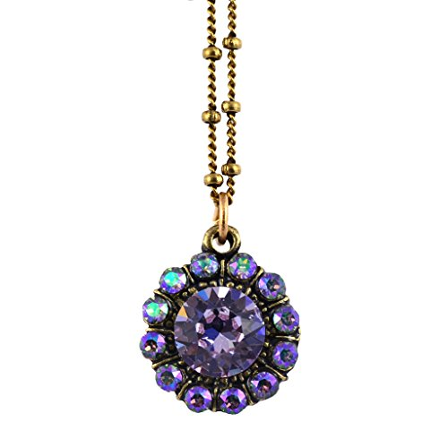 Anne Koplik Flower Necklace, Gold Plated Pendant with Violet Crystal Anne Koplik Designer Necklace