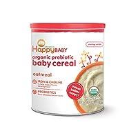 Happy Baby Cereal orgánico para bebés con probióticos con colina Avena, bote de 7 onzas (paquete de 6) Cereales orgánicos para bebés con hierro y colina para apoyar el desarrollo cerebral del bebé (el empaque puede variar)