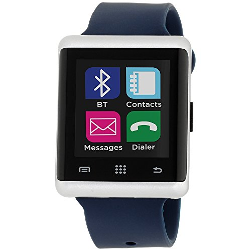 I-Touch Air Smart Watch Screen Bluetooth with Pedometer Analysis Sleep Monitoring Band for Samsung Galaxy Android Apple iPhone iOS Google Nexus Smartphone (Silver/Navy, 45mm)