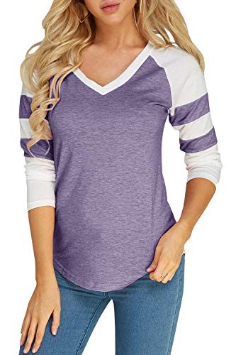 Long Sleeve Raglan Baseball Tee for Women Jersey Striped Small V Neck Tunic Tshirts Purple Color