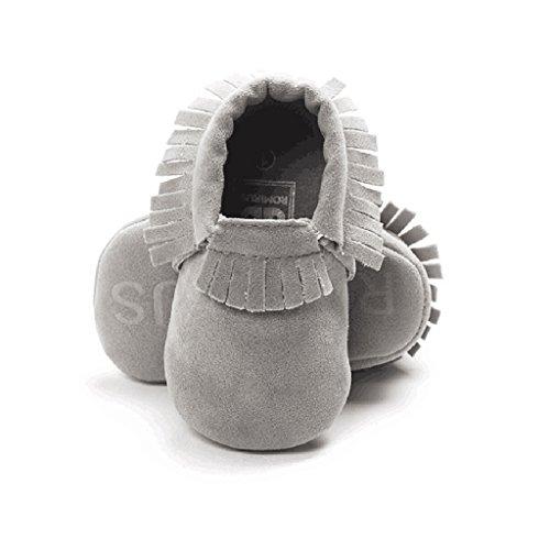 1 Par Zapatillas Zapatos Suaves Marginales única Mocasín Niño Bebé Niña - Púrpura, 11cm Gris