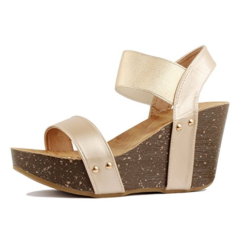 (Guilty Heart - Women's Comfortable Platform Cork Wedge High Heel Faux Leather Sandal (10 B(M) US, Gold Pu))