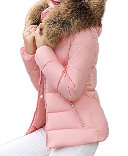 roulé Tour MILEEO de Pardessus col Femme Fausse Fourrure Veston ouatée en Taille Rose Veste au Mince à Capuche Hiver Manteaux ZSqZwrz
