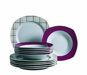 Josef Mäser Domestic 924212 Familia - Vajilla (6 platos hondos y 6 llanos, porcelana), color rojo