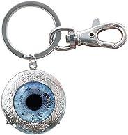 Birthday Gift Eye Locket Keychain Blue Eyes Locket Keychain for her Eyeball Key Ring Gift for Husband Human Ey