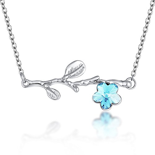 Branch Plum Flower (METTU Silver Tree Branch Crystal Plum Pendant Necklace Fashion Blue Crystal Flower Necklace Jewelry)