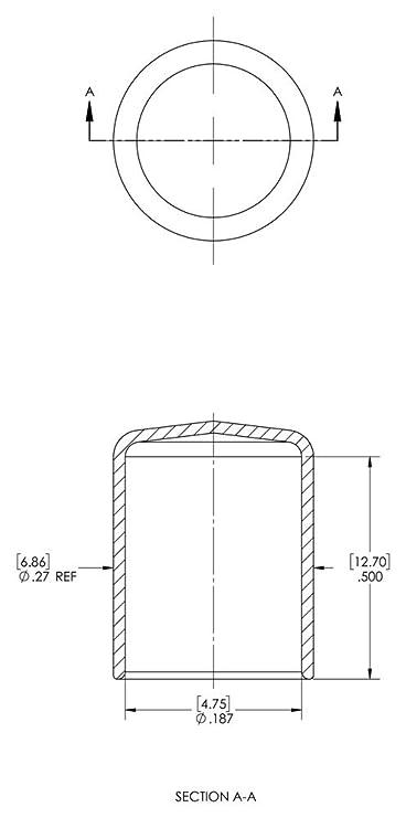 Black Vinyl Cap ID 0.187 Length 0.500 Caplugs 99190082 Plastic Round Cap VC-187-8 Pack of 1000