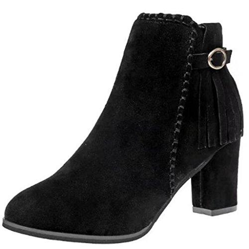 Binying Women's Pointed-Toe Block Heel Zip Tassel Ankle Boots Black YP4VPaYnG