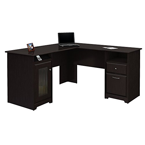 Bush Furniture Cabot L Shaped Computer Desk in Espresso Oak (With Computer Drawer Desk)
