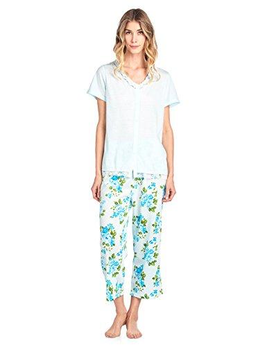 Casual Nights Women's Fancy Short Sleeve Floral Capri Pajama Set - Green - 3X-Large