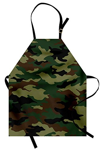 Ambesonne Camo Apron, Fashionable Graphic Uniform Inspired Camouflage Clothing Design, Unisex Kitchen Bib Apron with Adjustable Neck for Cooking Baking Gardening, Forrest Green Pale Green Brown