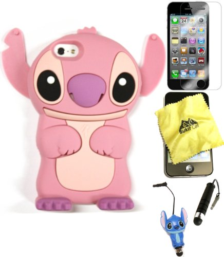 Bukit Cell 3D Case Bundle - 5 items: PINK 3D Cute Stitch Silicone Case for IPHONE SE 5S 5G + BUKIT CELL Cloth + Stitch Figure Stylus Touch Pen + Screen Protector + METALLIC Stylus Touch Pen (Ipod Touch 5 Cases Stitch)