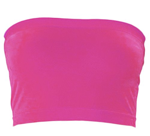 KMystic Stretch Seamless Tube Bra Bandeau Top (One Size, Hot Pink)