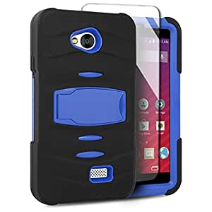 EagleCell For LG Tribute LS660 (Virgin Mobile) / Transpyre VS810 (Verizon) / F60 Hybrid Armor Skin Protective Case Cover Stand with Built in Screen Protector - Blue/Black