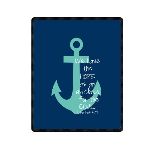 Bible Verse Throw (Bible Verse Blanket, We Have This Hope As an Anchor for the Soul Hebrew 6:19 Soft Fleece Travel Blankets Throws - 40 by 50 Inch)