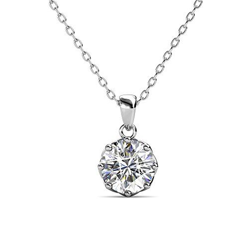 Cate & Chloe Eden Pure Solitaire Pendant Necklace, Womens 18k White Gold Plated Necklace with a Large Sparkling Solitaire Round Cut Swarovski Crystal, Silver Pendant Necklace for Women