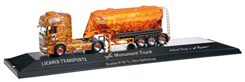 1/87 スカニア R TL バルク サイロ セミトレーラー `Herpa Monument Truck`(オレンジ) 121552