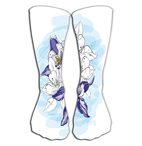 (Xunulyn Outdoor Sports Men Women High Socks Stocking Flower Arrangement Picturesque Sketch Style Bouquet Flowers Graphic Fragments Cards Printing Tile Length 19.7