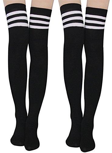 Womens Knit Knee-High Socks - Leg Warmer Knit Crochet High Boot Thigh Socks Leggings (2 pairs-1black+1black)