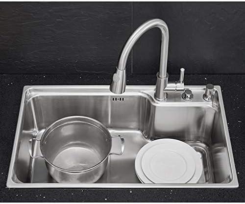 JJSFJH ドロップインステンレスシンク、キッチン大容量サイレント排水トラフ組み込みステンレスシンクダブルスロットインセットリバーシブル