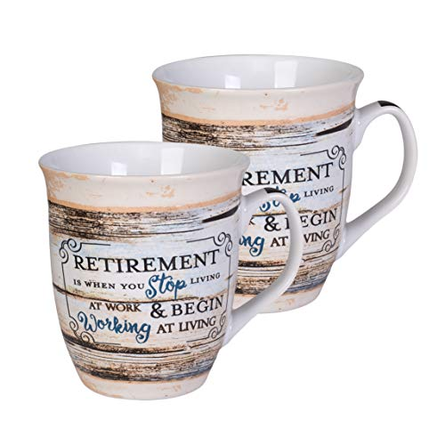 Coffee Retirement (Retirement Working At Living Distressed Wood Design 16 Ounce Ceramic Stoneware Coffee Mugs Set of 2)