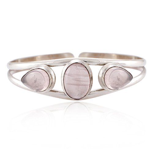 925 Sterling Silver Natural Pink Rose Quartz Gemstones Triple (3) Three Stones Women Cuff Bracelet Pink Rose Quartz Bracelet