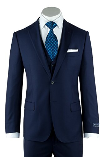 Wool Mens Italian Suit (Tiglio Zegna Ermenegildo Cloth Superfine Wool Cobalt Blue Suit & Vest By Canaletto Menswear)