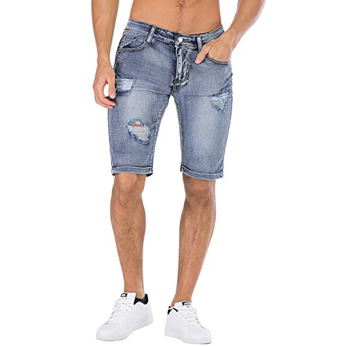 - BITLIVE Men's Fashion Ripped Short Jeans Casual Denim Shorts with Hole (32, Light Blue)