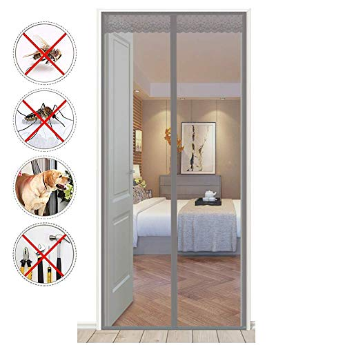 LMYEQ Mesh Screen Door Long,[Upgraded Version] Reinforced,French Door Screens with Magnets,Max Full Frame Hook and Loop Heavy Duty Mesh,Gray,85x235cm(33x93inch) ()