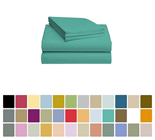 LuxClub Bamboo Sheet Set - Bamboo - Eco Friendly, Wrinkle Free, Hypoallergenic, Antibacterial, Moisture Wicking, Fade Resistant, Silky, Stronger & Softer than Cotton - Teal - Queen