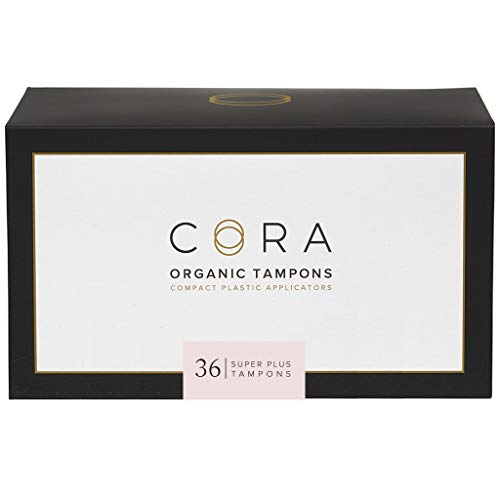 Cora Organic Cotton Tampons with BPA-Free Plastic Compact Applicator; Chlorine & Toxin Free - Super Plus (36 Count)