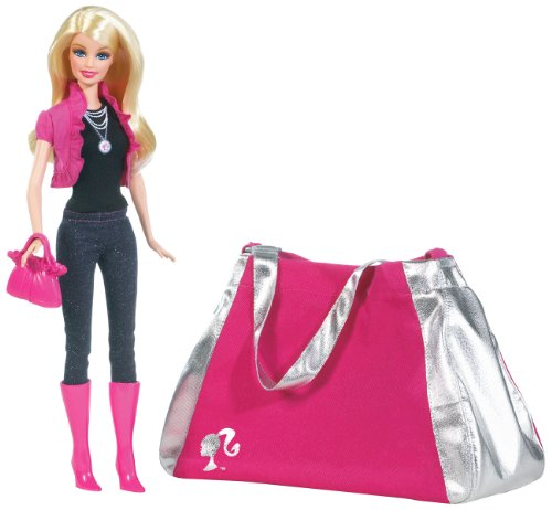 Barbie Year 2009 A Fashion Fairytale Series 12 Inch Doll Giftset (T2575) - Barbie with Black Top, Pink Half-Jacket, Glittering Blue Pants, Pink Purse and Pink Boots Plus Bag (Just (Just Fab Purses)