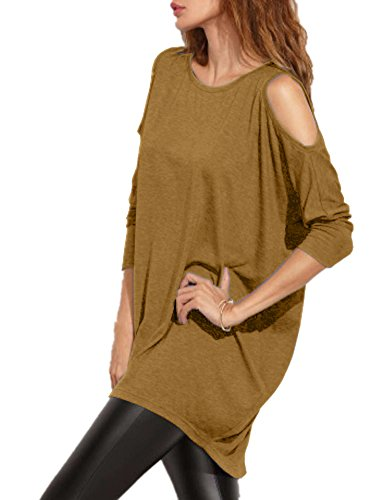 Haola Women's Cold Shoulder Off T-shirt Dress Loose Fit Long Sleeve Long Tees S Coffee