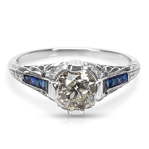 (IGL Certified Art Deco Estate Diamond & Sapphire Engagement Ring in Platinum)