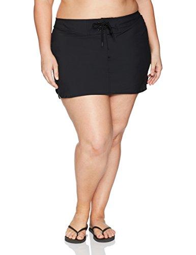 Plus Size Swimwear Drawstring Front Boardskirt, Black, 1X (16W-18W) ()