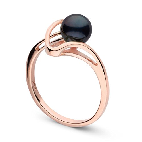 (Cordon Collection Black Akoya Cultured Pearl Ring 14K Rose Gold / 6.5)