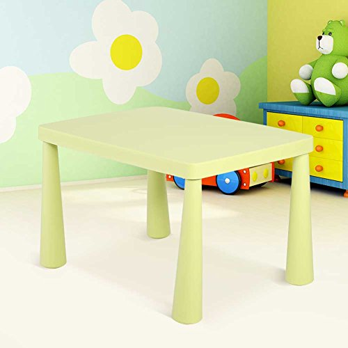 Plastic Kids Children's Play Table, Stackable School Home Learning and Education Activity Table Kid's Play Learning Furniture for 1.5-8 Years Old Kids,30'' x 21'' x 20'',Light Green by Estink