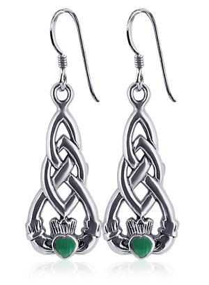 Gem Avenue 925 Sterling Silver Celtic Knot Irish Claddagh Love and Friendship Malachite Earrings