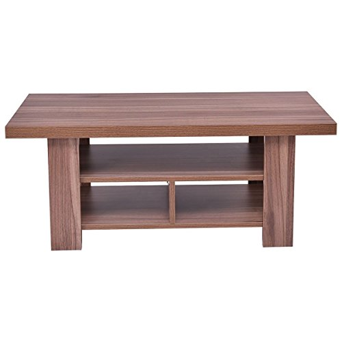 Patten Coffee Rectangle Table Books End Side Beside Table 2 Tier Shelves And 3 Storage ()