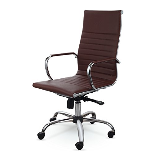 Winport Furniture WF-7911 Elegance High-Back Leather Swivel Office & Home Desk/Task Chair Brown