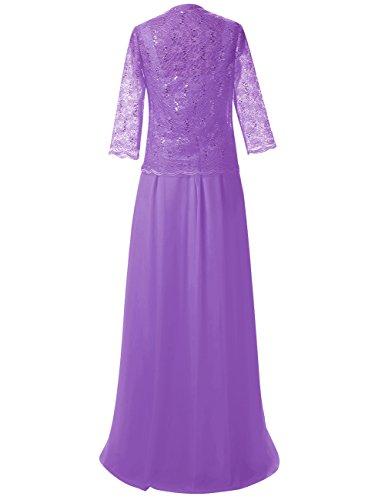 Spitze Damen Lila Mutter Jacke Chiffon mit Abendkleider Kleider der Braut Lang Festkleid gfRxwqa