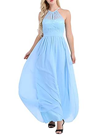 FEESHOW Women's Halter Lace A-Line Chiffon Floor-Length Bridesmaid Dress Light Blue 10